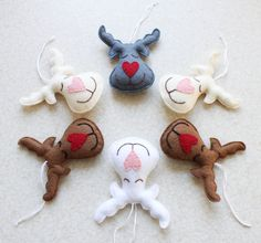 felt REINDEER ornaments for christmas tree / cute christmas decorations / felt Rudolf the red nose ornament / handmade xmas tree ornaments Reindeer Ornaments, Felt Christmas Ornaments, Handmade Ornaments, Christmas Angels, Cute Christmas Decorations, Felt Decorations, Rustic Christmas, Christmas Crafts, Felt Crafts