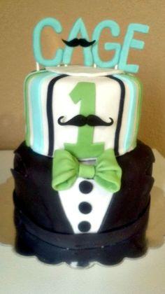 Mustache Bash 1st Birthday cake