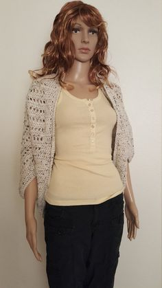 Stylish and trendy crochet cardigan shrug that can be worn with any outfit!    Care Instructions:   Machine wash - gentle cycle - cold water or hand wash  Dry - gentles or low heat or shape and lay flat to dry  Do not bleach    Measurements: One size     Model is wearing medium weight yarn by I love this yarn in Tweed. Please choose custom and specify in the note to shop owner what color you prefer. Please scroll down to see my frequently asked questions for links to the different color…