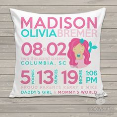 Baby girl birth announcement pillow or baby boy birth announcement zoeys attic personalized gifts mermaid birth announcement pillow 3450 http negle Images
