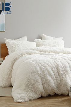 The moment you get into bed, you are going to be hearing yourself say, 'Are You Kidding Me? This duvet cover is so plush and soft that you're going to be staying in bed for days to come. White Bedding, Linen Bedding, Duvet Bedding, Fluffy Bedding, Bed Linens, White Duvet Covers, Bed Covers, Stuffed Animals, Pusheen