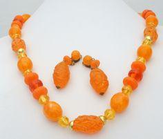 Vintage Orange Yellow Bead Necklace Earrings Set Rockabilly Fashion W Germany #Beaded