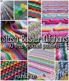 "Time to ""Bust That Stash!"" 10 Free Stash Buster Afghan Crochet Patterns - roundup on Moogly! (I like these almost better than most other Afghans I find, makes me want to buy some 'stash' to bust it)"
