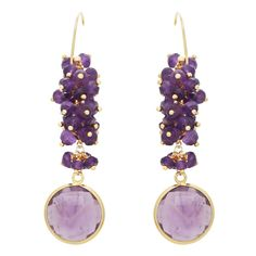Amethyst Cluster Drop Earrings (560 BRL) ❤ liked on Polyvore featuring jewelry, earrings, peace sign earrings, peace earrings, drop earrings, handcrafted jewelry and handcrafted earrings