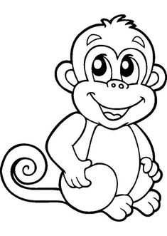 Monkeys are cute animals and are loved by children. His funny behavior makes children happy and laughing. Because of that we share with you all the cute monkey coloring pages for our children. Monkey Coloring Pages, Cute Coloring Pages, Disney Coloring Pages, Animal Coloring Pages, Coloring Pages For Kids, Coloring Sheets, Coloring Books, Art Drawings For Kids, Drawing For Kids