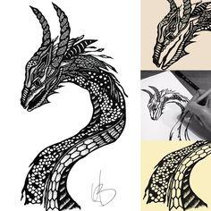 Een draak, de bewaker van macht, een gelukbrengend spiritueel wezen. Zowel beangstigend als beheersbaar. Als je een draak ziet in je dromen dan staat de draak voor je vurige persoonlijkheid, je ongetemde aard en je sterke wil. #draak #dragon #drawingdragons #draaktekenen #maureenvertelt #maureentekent #zentangle
