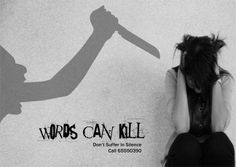 Verbal Abuse Poster: Words Can Kill.    #Stop #Domestic #Violence