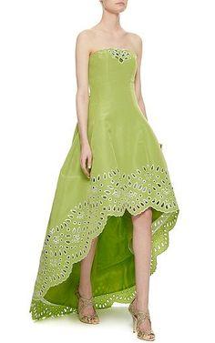 Oscar de la Renta - Green Cut-Out Strapless Gown