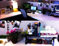 Decorated Cubicles! I like how the colors go well with each other. #cubicledecorating