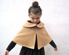 Camel Girls Cape with Peter Pan Collar - Boiled Wool Brown Capelet  Size 12 months 1T to 3T - Wedding Party Fashion Shrug. $75,00, via Etsy.