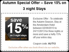 Save 15% on 3 night stays - Amsterdam Hotel London Autumn Special Offers