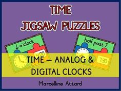 24 TIME JIGSAW PUZZLES-TIME TO THE HOUR(O'CLOCK)AND HALF HOUR - ANALOG & DIGITAL CLOCKS - CORE ALIGNED :)