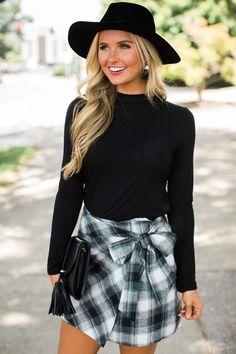 bf2e18802b9b8 A Confident Heart Plaid Skirt Black. Outfits With HatsCute ...