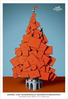 christmas campaign Hermes- home. Hermes Home, Hermes Paris, Hermes Window, Christmas Editorial, Christmas Campaign, Hermes Orange, Christen, Xmas Tree, Retail Design