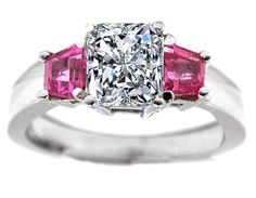 Radiant Diamond Engagement Ring Trapezoid Pink Sapphires side stones 0.35 tcw. In 14K White Gold