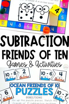 Practice subtraction for friends of 10 in your classroom with this quick pack of subtraction games and activities! 1st and 2nd grade students will review making a 10 fact to help them subtract with these fun games! (Example: 10 - 6 = 4 because we know 6 + 4 = 10). Games/activities included in this resource: roll & cover, subtraction bump, ocean friends of 10 puzzles, and MORE! Perfect for small group instruction, centers, or at-home distance learning! Add to your cart now!