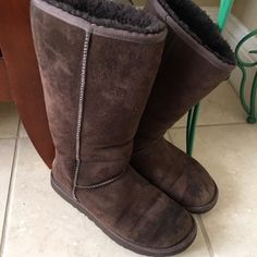 UGGS Authentic brown uggs, tall,worn but no rips, patina,needs a cleaning, but in good shape, bottoms are worn, price reflects this UGG Shoes Winter & Rain Boots