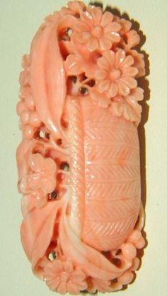 Exceptional Antique Carved Coral Flower Basket Brooch - c. 1800's