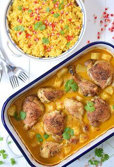 Kurczak pieczony z ananasem w sosie curry z mlekiem kokosowym Best Cookbooks, Curry, Food Porn, Food And Drink, Tasty, Lunch, Healthy Recipes, Meals, Chicken