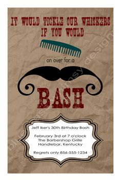 Comb on Over for a Mustache Bash  Birthday by BluegrassWhimsy, $15.00
