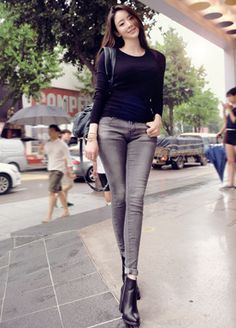 Today's Hot Pick :Gray Skinny Jeans http://fashionstylep.com/SFSELFAA0013481/cys1214en/out Carefully crafted, this skinny jeans will truly ensure your comfort while walking with a preppy fashionable trend. It comes with a wash accent, comfortable mid rise, functional four pockets and zipper and button closure. The pants look better if worn with turtle neck top, pointed toes ankle boots and satchel bag.