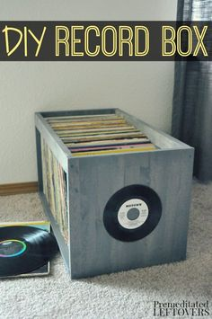 Looking for a way to organize records? Use this DIY Record Box Tutorial to create an attractive organization method for records! This simple yet heavy duty box is perfect for storing all of your records in your home.The open design idea also allows you to flip through albums with ease.