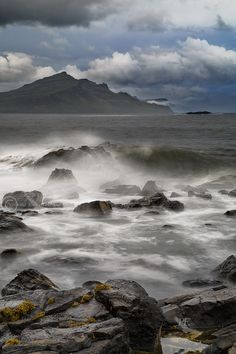 Ben Tianavaig. Storm approaching from Trotternish. Isle of Skye. Scotland.