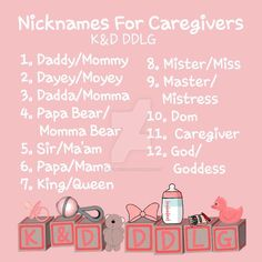 Here are some ideas to call your Caregiver in a CGL relationship! Nicknames For Caregivers Daddy King, O Daddy, Daddy Dom Little Girl, Daddy Rules, Names Girl, Pet Names, Daddy's Little Girl Quotes, Ddlg Little, Frases
