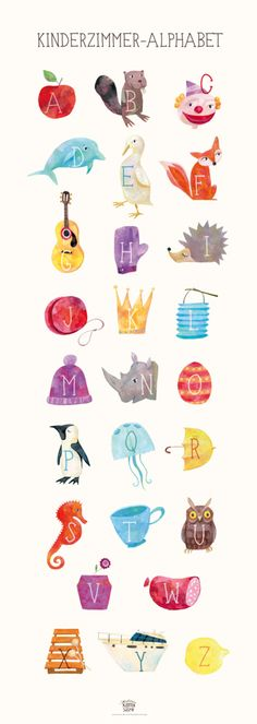 ABC Poster für Schulkinder: Alphabet mit schönen Illustrationen für das Kinderzimmer, ein tolles Geschenk zur Einschulung / alphabet poster for school kids: home decoration as cool gift for the first day at school made by Katrinas Kartensalon via DaWanda.com