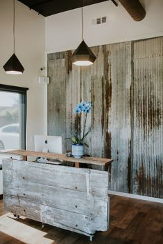 Image result for reception desk corrugated metal siding