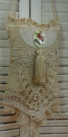 Vintage Ecru lace Hanging pillow Sachet with Rose Potpourri