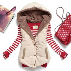 2013 autumn and winter plus size slim plus velvet vest thermal down cotton with a hood vest female all match-inVests & Waistcoats from Appar...