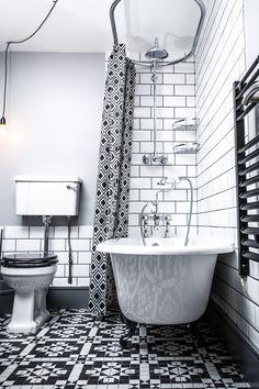Black and white London bathroom in Peckham Clawfoot Bathtub, Spaces, London, Black And White, Bathroom, Washroom, Black N White, Black White, Full Bath