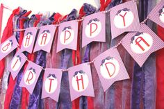 happy birthday banner Party IDeas- printable or assembled options available on etsy