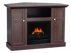 Corner fireplace stand within corner entertainment center with fireplace decor corner fireplace entertainment center ideas Electric Fireplace Tv Stand, Tv Stand And Entertainment Center, Swivel Tv Stand, Fireplace Mantle, Corner Fireplaces, Media Fireplace, Outdoor Fireplace Designs, Built In Furniture