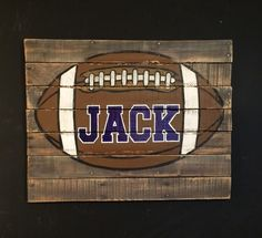 A personal favorite from my Etsy shop https://www.etsy.com/listing/221663976/football-wall-art-football-pallet-sign