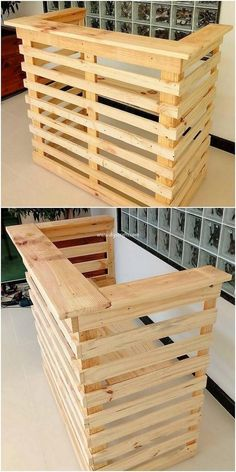 Use Pallet Wood Projects to Create Unique Home Decor Items – Hobby Is My Life New Pallet Ideas, Diy Pallet Projects, Woodworking Projects, Diy Pallet Bar, Pallet Counter, Woodworking Plans, Pallet Ideas For Outside, Pallet Display, Small Pallet