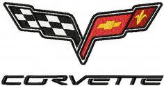 Chevrolet Corvette logo machine embroidery design