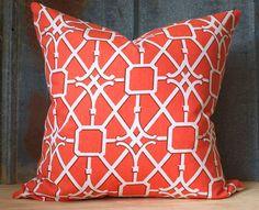 20 Orange Trellis Pillow Cover with Zipper Closure by nakaliesheek, $30.00
