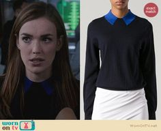 Jemma's black sweater with blue faux collar and printed blazer on Agents Of SHIELD. Outfit Details: https://wornontv.net/24968/ #AgentsofSHIELD