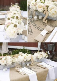 Wedding decor: Encaje y arpillera