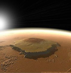 Mars' Olympus Mons, the highest #mountain and #volcano in the #SolarSystem , is 3 times higher than #MtEverest and almost the same size as the state of #Arizona  Credit: @nasa Science Team/ O. de Goursac, Adrian Lark (Artist) #bos #mars #space #astronomy #science #physics