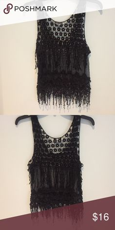 WET SEAL top Cute fringe shirt. Worn with tank under Tops Blouses