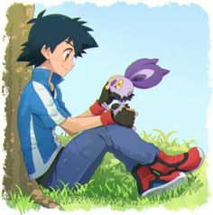Ash Ketchum and his Noibat ^.^ ♡ I give good credit to whoever made this