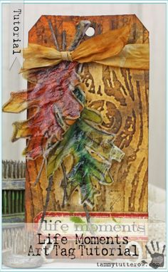 watercolor painted vellum leaves with a crackle finish + Tutorial Atc Cards, Card Tags, Paper Cards, Gift Tags, Decoupage, Handmade Tags, Thanksgiving Cards, Artist Trading Cards, Tag Art