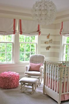 Home - Nursery - kbulms: Sweet baby girl nursery with gray and ivory striped walls, and coral pink accents.  Soft ...