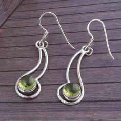 PERIDOT STONE 925 SOLID STERLING SILVER FANCY EARRING 3.60g JEWELLERY DJER1786 #Handmade #Earring