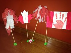 Canada Day Crafts for kids , hand print , flag, pom poms