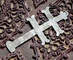 18th Century American Indian Fur Trade Silver Cross of Lorraine - c. 1750 - LARGE - Over 3""