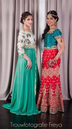 Marokkaanse en Indiaase bruid. Styled shoot. Visagie: Face & Art, Linda van Reeven. Modellen: Mona Ulker en Shalinie Sidhoe. Linker jurk: Caftan Jauharra Boutique. Fotografie: #TrouwfotografieFreya